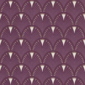 Moderne-Art-Deco-Ventilateur-Papier-Peint-Rouleaux-Prune-Dore-Rasch-433241