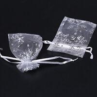 250pcs Xmas Snowflaker Organza Favor Gift Bags 7x9cm 120323
