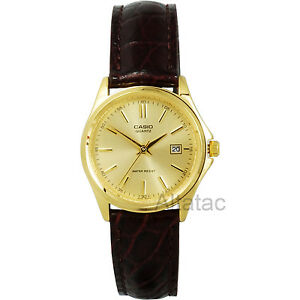Casio-LTP-1183Q-9A-Women-039-s-Analog-Dress-Watch-Gold-Dial-w-Genuine-Leather-Band
