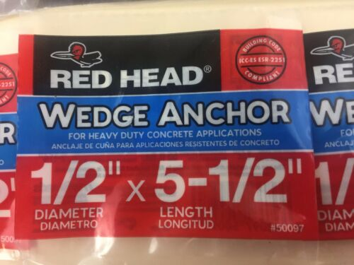 "1//2/"" x 5-1//2/"" Wedge Concrete Anchor RAMSET RED HEAD LOT OF 9"