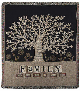 """THROWS - FAMILY TREE TAPESTRY THROW BLANKET - 50"""" X 60"""" - TREE OF LIFE"""