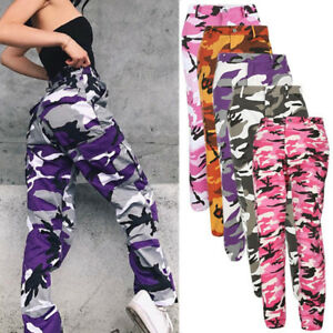 462fc00469223 Image is loading Hip-Hop-Womens-Army-Camouflage-Jogger-Bottoms-Pink-