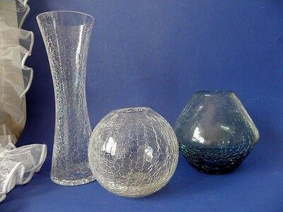 3 Vasen Eisglas Craqueleè Klar & Turmalinglas