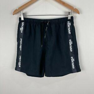 Ellesse Mens Shorts Small Black Elastic Waist Drawstring Pockets