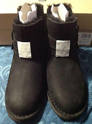 b577c51719f UGG ALISO BLACK LEATHER/ SHEEPSKIN ALISO BUCKLE ANKLE BOOTS, US 5 EU 36  ~NEW   eBay