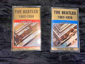 2 x The Beatles Cassette Tapes - Blue and Red Albums UK