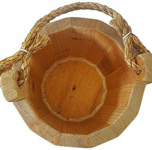 """Wooden Bucket 8/"""" x 10/"""" Water Wishing Well Pail with Rope Twine Handle Solid W..."""