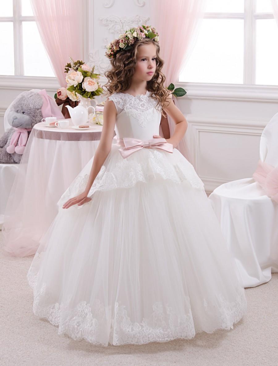 ABAO Childrens Flower Girls Elegant Floor Length Ball Gown Wedding Dress ZG8