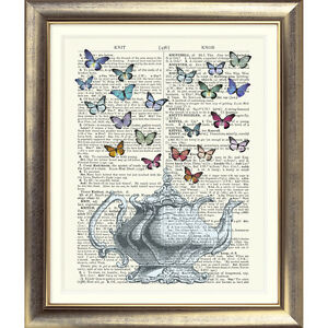ART-PRINT-ON-ORIGINAL-ANTIQUE-DICTIONARY-BOOK-PAGE-Teapot-Butterfly-Tea-Picture
