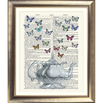 ART PRINT ON ORIGINAL ANTIQUE DICTIONARY BOOK PAGE Teapot Butterfly Tea Picture
