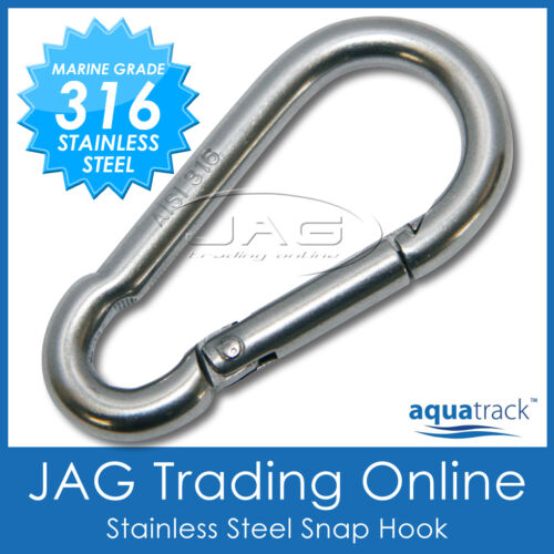 Boat//Marine//Sailing//Shade//Sail//4x4 6mm 316 STAINLESS STEEL SNAP SPRING HOOK