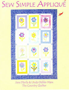 Country-Quilter-SEW-SIMPLE-APPLIQUE-Book-Learn-4-Basic-Stitches-amp-4-Quilts