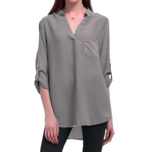 Damen Chiffon Oberteil Blusen Shirt Langarm V-Ausschnitt Pullover Hemdbluse Tops