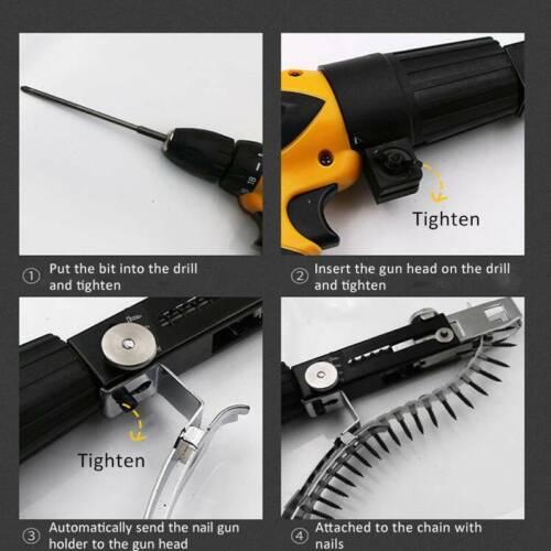 Auto Chain Nail Gun Adapter Screw Gun for Electric Drill Woodworking Tool SF