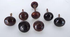 Vintage-Porcelain-Door-Knob-Collection-Brown-Swirl-Black-7-Piece-Estate-Lot