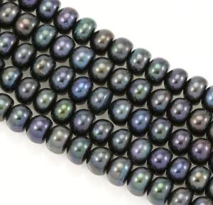 Perles-de-Culture-d-Eau-Douce-6-7mm-Rondelles-Boutons-Noir-Paon-AA