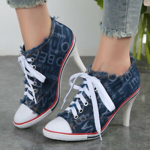 e668c0afe40e4 Ladies Letters Denim Pointy Toe Lace Up High Heel Ankle Boots Pumps ...