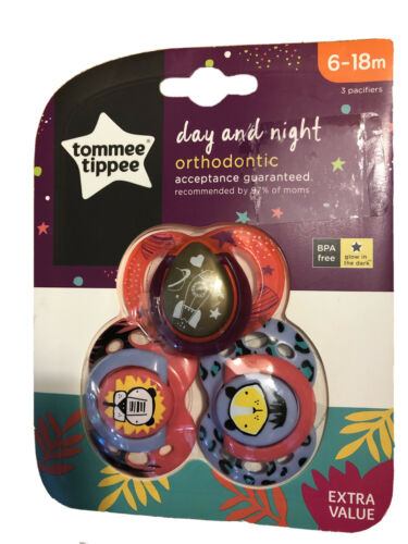 Tommee Tippee Day And Night Time Orthodontic Pacifiers 6-18 M Baby//Toddler 3 Pk!