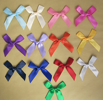 Large Satin Ribbon Bows (13mm). Party, Card or Gift Decoration - 13 Colours
