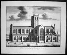 1724 Kip Large  Folio Antique Print of Bath Cathedral, Somerset, England