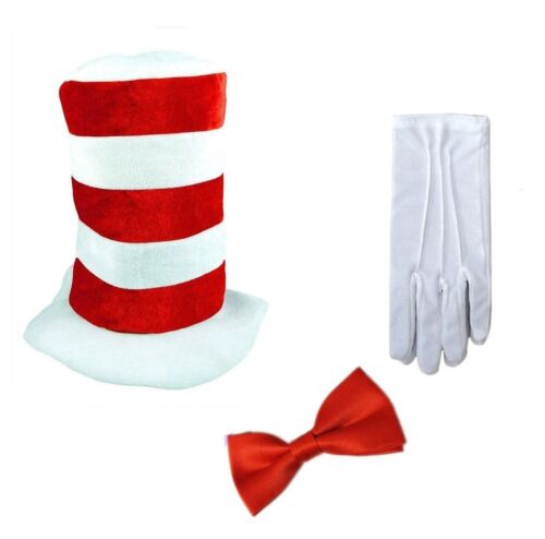 Adult Cat in the HAT BOW TIE /& GLOVES Book Week Dr Seuss Fancy Dress Costume New