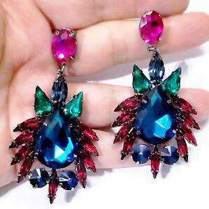 Chandelier-Earrings-Rhinestone-Multi-Crystal-3-in