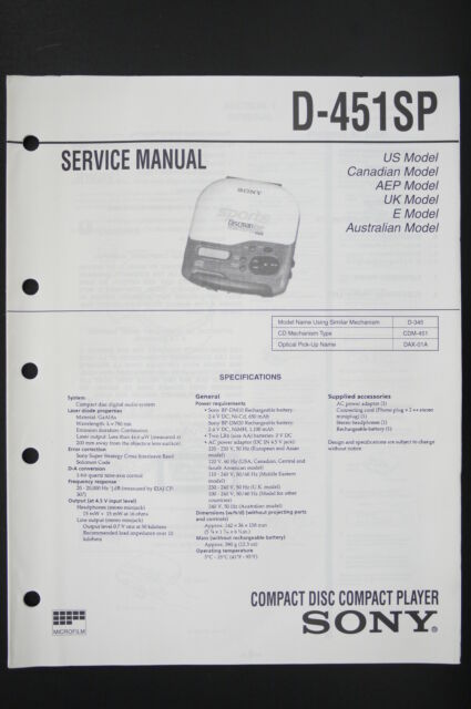 sony d-451 sp original cd player/discman service manual/wiring diagram/
