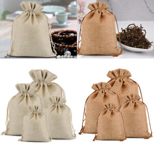 Details About Burlap Bags Drawstring Party Favor Jewelry Pouch Treat For Wedding
