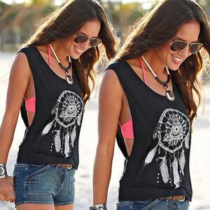 91fa87dfadb5 Boho Women Vest Tank Tops Sleeveless Tee Shirts Blouse Low Side Cut ...