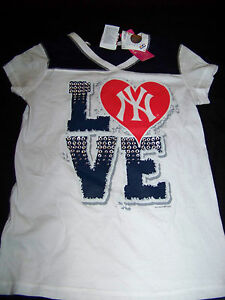 big sale 7f05e 8112f Details about 5th & Ocean Girls New York Yankees Shirt NWT Bling Size 10-12