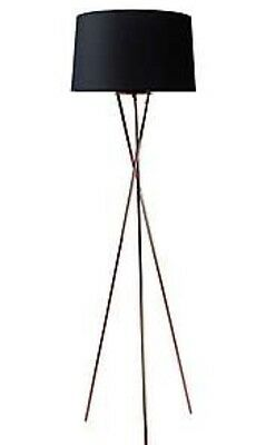 Modern Urban Industrial Copper Metal Tripod Black Shade Floor Lamp Standard NEW