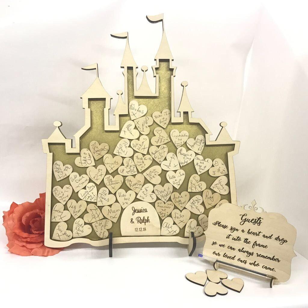 Castello DI FATA 100 100 100 cuori matrimonio scatola di rinvio Alternative Guest Principessa Compleanno 6501ac