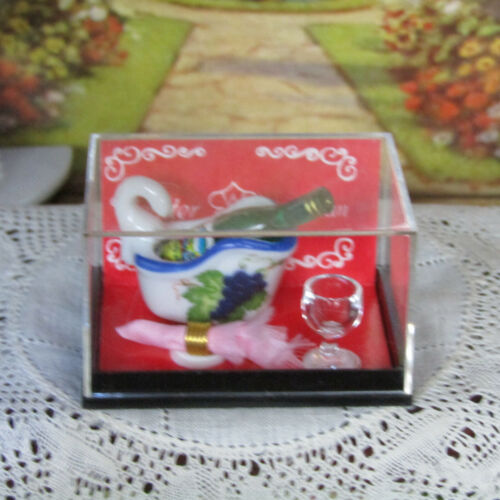 Vtg Dollhouse REUTTER WINE BOTTLE COOLER /& Glass Porcelain Grapes Dish Dishes