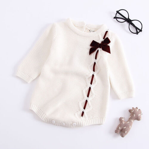 Infant Newborn Baby Girl Bow Knit Romper Bodysuit Crochet Clothes Outfit Solid