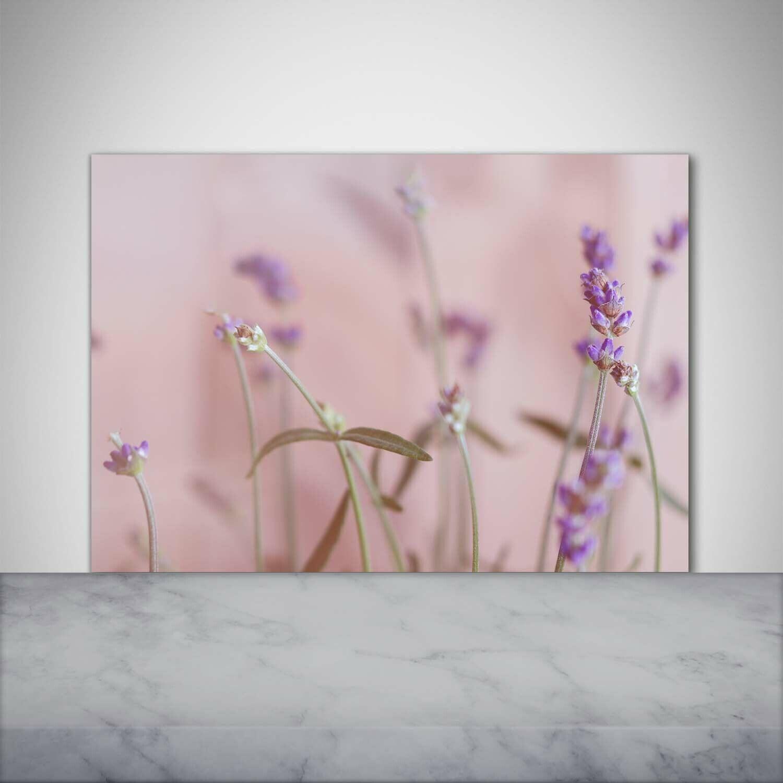 Küchenrückwand Spritzschutz aus Glas 100x70 Deko Blaumen & Pflanzen Lavendel