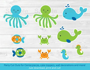 photo about Under the Sea Printable titled Information around Blue Underneath The Sea Occasion Cutouts Decorations Printable