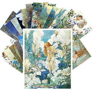 Postcards-Pack-24-cards-Fairies-Flowers-and-Small-People-by-Harold-Gaze-CC1121