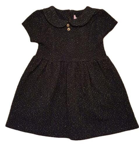 Girls Kids Baby Dress Outfit Sparkle Black Smart Wedding Peter Pan Collar 3m-7y