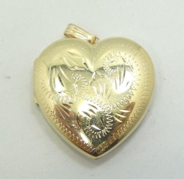 14K Yellow Gold Diamond Cut Heart Locket Charm Pendant .8