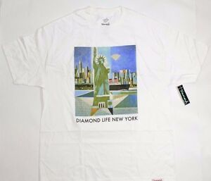 Diamond-Supply-Co-DIAMOND-LIFE-NEW-YORK-White-Green-Discounted-Men-039-s-T-Shirt