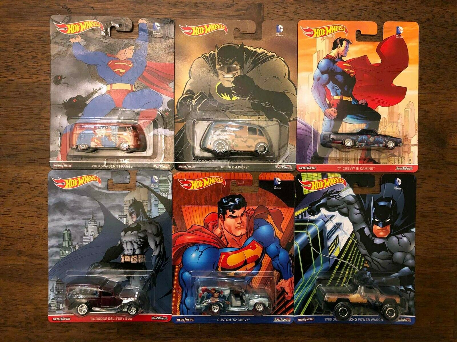 HOT WHEELS SET of 6 - POP CULTURE - DC COMICS BATMAN & SUPERMAN 2016 Power Wagon