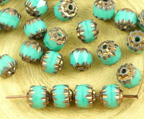 20pcs Metallic Bronze Czech Glass Cathedral Faceted Fire Polished Beads Chris...