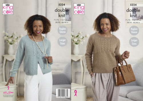 King Cole Ladies Double Knitting Pattern Raglan Sleeve Sweater /& Cardigan 5224