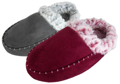 Ladies Womens Faux Suede Moccasin House Slippers Moccasins Comfort Furry Slipper
