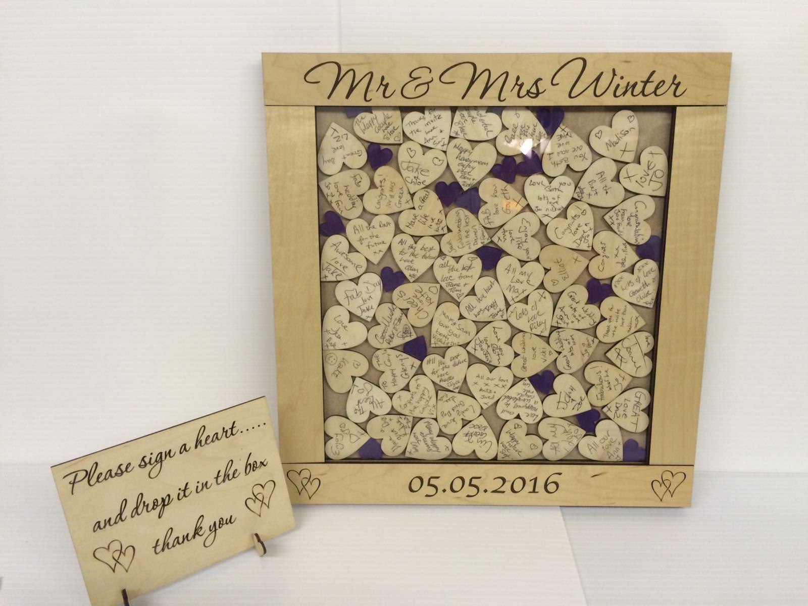 Personnalisé De Luxe Maplewood Cadbury Violet Cœurs Boîte De Mariage Dépôt De Mariage De Livre d'or 3ecc01