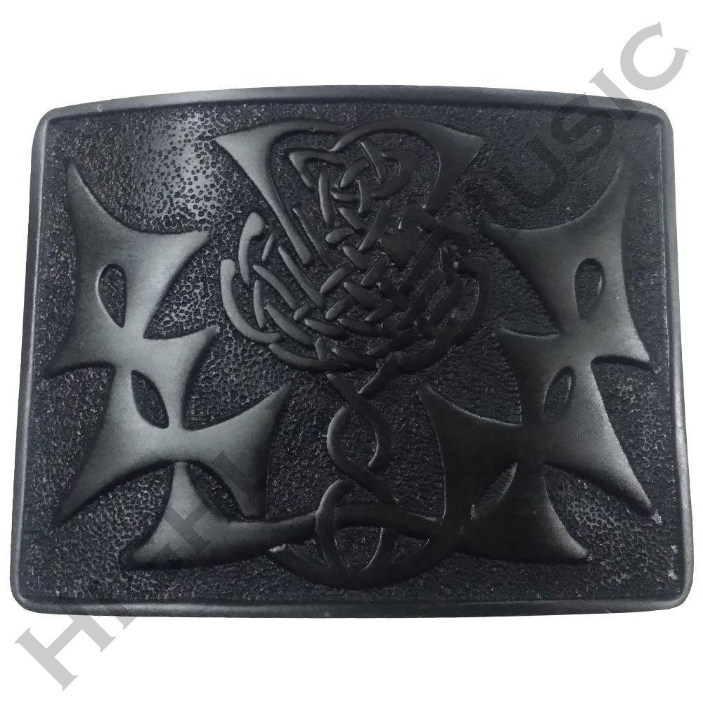 HM Scottish Highland Kilt Belt Buckle Swirl Celtic Thistle Knot Jet Black Finish