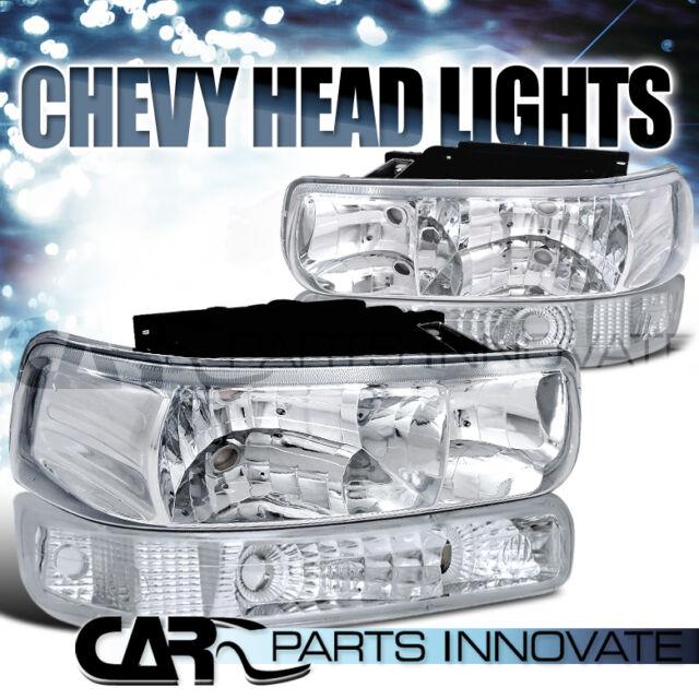 99-02 Silverado 00-06 Suburban Tahoe Pickup Clear Headlights+Bumper Signal Lamps