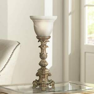 French-LED-Uplight-Table-Lamp-Candlestick-Beige-Glass-Shade-for-Living-Room-Desk