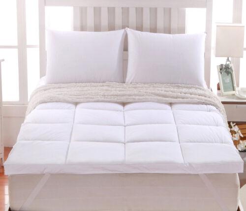 "2/"" Thick Comfort Mattress Topper 100/% Cotton Shell White Alternative Down fill"