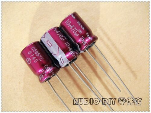 Elna Morado Rojo Bata R2O serie 470uF//10V Condensador electrolítico de audio 20 un